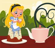 Alice`s the tea party. Vector illustration of Alice In Wonderland Character Stock Images