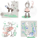 Alice's in Wonderland. Vector illustration of Alice's Adventures in Wonderland : Alice, with a tea cup and stripes knee socks, the White Rabbit with clocks,  the Stock Image