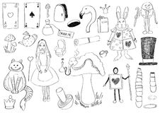 Alice Set. Hand Drawn set of Alice in Wonderland figures Stock Photography