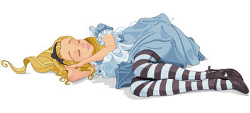 Alice Sleeping. Illustration of Alice is sleeping Royalty Free Stock Images