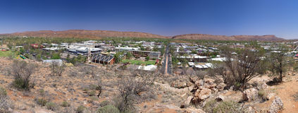 Alice Springs. A panorama of Alice Springs, the central Australian city nestled in front of the Heavitree Gap in the Macdonnell mountains. Northern Territory Stock Photo