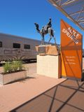 The famous Ghan railway at the Alice Springs terminal with a local sign Royalty Free Stock Image