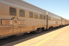 The famous Ghan railway at the Alice Springs terminal Stock Photography
