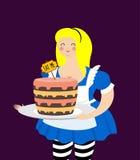Alice in sprookjesland De cake eet me Vette en oude vrolijke vrouw Stock Fotografie