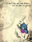 Alice in Sprookjesland Verontrust Grunge-Document - Maart-Hazen - het Capricieuze Document van het Zakhorlogeplakboek stock foto's