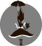 Alice steigt auf Regenschirm an Stockfoto