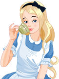 Alice Takes Tea Cup. Illustration of Alice pours a cup of tea Royalty Free Stock Photo