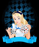 Alice takes tea cup. Alice pours a cup of tea from the kettle Royalty Free Stock Photo