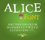 Alice w krainy cudów chrzcielnicie Czarodziejka ABC szalenie abecadła Cheshire kot Fotografia Stock