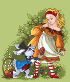 Alice and the White Rabbit. Easter card. Easter composition with heroes of Lewis Carroll's classic tale Alice in Wonderland Stock Images
