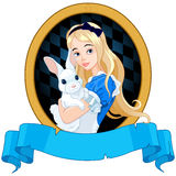 Alice with White Rabbit Stock Photo