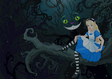 Alice in Wonder Forest. Alice sitting on a branch on the Wonder forest stock illustration