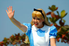 Alice in wonderland. Fairytale character alice of the wonderland at disneyland, hong kong, greeting teh visitors Royalty Free Stock Photography