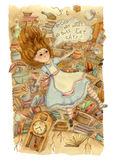 Alice in Wonderland. Alice is falling down into the rabbit hole. royalty free illustration