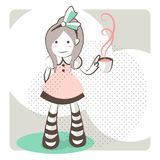 Outline little girl wearing a green bow with a tea cup. Alice in Wonderland, a beautiful child wearing stripes socks, standing over a field with a green flock on royalty free illustration