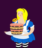 Alice in Wonderland. Cake eat me. Fat and old cheerful woman Stock Photography