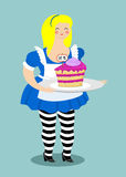 Alice in Wonderland. Cake eat me. Fat and old cheerful woman Royalty Free Stock Images