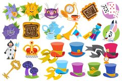 Alice in Wonderland characters and elements. Set of vector illustration isolated on white background stock images
