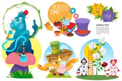 Alice in Wonderland characters and elements. Set of vector illustration isolated on white background stock image