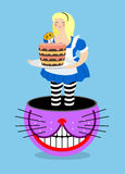 Alice in Wonderland and Cheshire Cat. Old fat woman and shabby f Royalty Free Stock Photography