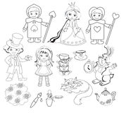 Alice in Wonderland. Coloring.Vector illustration. Royalty Free Stock Image