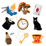 Alice in Wonderland elements collection. EPS 10 vector Royalty Free Stock Image