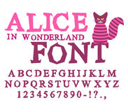 Alice in Wonderland font. Fairy ABC. mad Alphabet  Cheshire Cat. Stock Photos