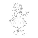 Alice wonderland girl coloring book vector Stock Photography