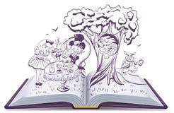 Alice in Wonderland. Girl and rabbit drinks tea Stock Photos