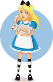 Alice in Wonderland with Her White Rabbit Vector. Drawing of a cute blonde girl holding a bunny Royalty Free Stock Image