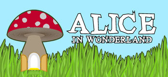Alice in Wonderland lettering on green grass and mushroom. Mad f Royalty Free Stock Images