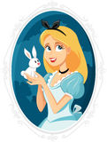 Alice in Wonderland with Little White Rabbit Vector Illustration Stock Photography