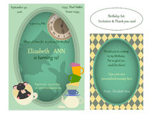 Alice in Wonderland. Mad tea party Birthday Invitation. Retro illustration Royalty Free Stock Photography