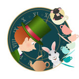Alice in Wonderland. Mad tea party. Hatter, Dormouse, White Rabbit. Alice in Wonderland. Mad tea party with Hatter, Dormouse and White Rabbit. Retro Stock Image