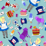Alice in Wonderland pattern. Fat woman and Cheshire cat. Rabbit Stock Images