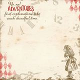 Alice In Wonderland - risquez d'abord - papier d'horloge - album - fond - fantaisie illustration stock