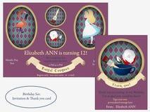 Alice in Wonderland. Royal croquet Birthday Invitation. Royalty Free Stock Image