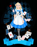 Alice in wonderland. Alice is standing on background of the dial Stock Photography