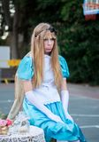 Alice in Wonderland - undefined girl, participant of Rehovot International Live Statues Festival. REHOVOT, ISRAEL - JULY 4, 2018: Alice in Wonderland - undefined stock photo