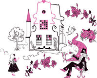 Alice in Wonderland vector illustration. Set of silhouettes Stock Photos
