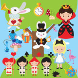Alice in Wonderland vector illustration Royalty Free Stock Images
