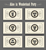 Alice in Wonderland vector set with labels Eat me, Drink me, Open me, Not poison, Thank you. ideal for decoration Stock Photo