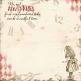 Alice In Wonderland - waag me eerst - Klokdocument - Plakboek - Achtergrond - Whimsy stock afbeeldingen