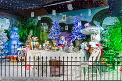Alice in Wonderland. Whitchurch, Bristol, UK - November 19, 2016: Christmas decorations on sale, Alice in Wonderland theme in Whitehall garden centre, near royalty free stock photos