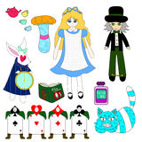 Alice in Wonderland  on White Background. Vector Illustration Stock Image