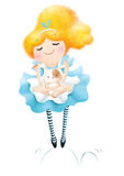 Alice in wonderland with white rabbit stock illustration