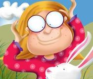 Alicia con el conejo blanco stock de ilustración