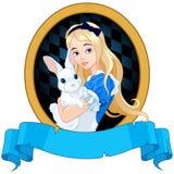 Alicia con el conejo blanco Foto de archivo