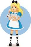 Alicia en el país de las maravillas con su vector blanco del conejo Imagen de archivo libre de regalías