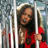Alicia Keys presteert in overleg royalty-vrije stock afbeelding